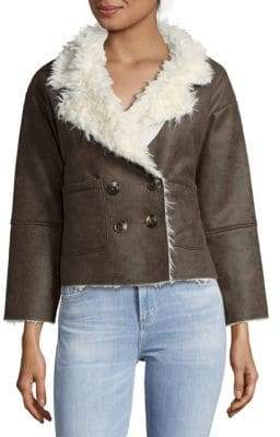 Raga Elliot Faux Fur-Trimmed Double-Breasted Coat