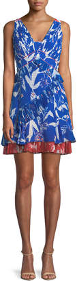 Tanya Taylor Eva Pleated Parrot Tulip-Print Mini Dress