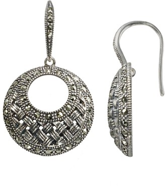 Lavish by TJM Sterling Silver Woven Hoop Drop Earrings - Made with Swarovski Marcasite