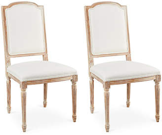 One Kings Lane Off-White Linen Louis Side Chairs - Set of 2
