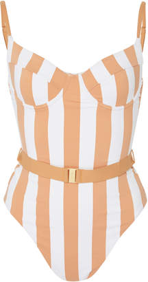 Onia + WeWoreWhat Danielle Belted Striped Swimsuit