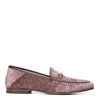 Pink Embossed Floral Velvet Loraine Bit Loafer
