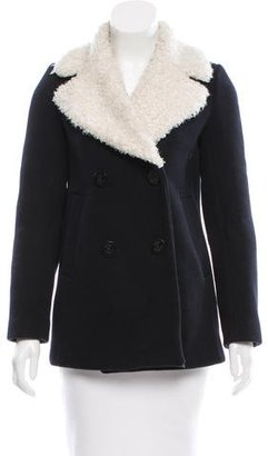 Sandro Faux Fur Wool Coat $175 thestylecure.com