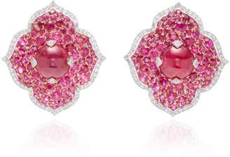 Giovane 18K White Gold Ruby and Diamond Earrings