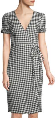Madisonne Short-Sleeve Gingham Wrap Dress