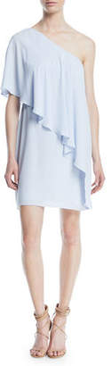 Halston Flowy Draped One-Shoulder Cocktail Dress