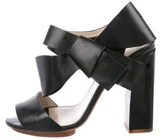 DELPOZO Leather Bow Sandals