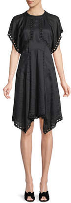 Isabel Marant Gabe Beaded Circle-Embroidered Fit-and-Flare Dress