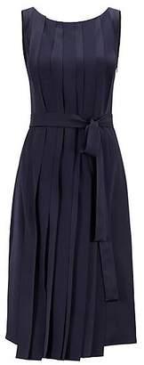 HUGO BOSS Sleeveless dress in Italian fabric with pleated front