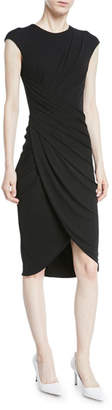 Michael Kors Cap-Sleeve Ruched Stretch Matte Jersey Cocktail Dress