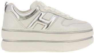 Hogan Sneakers 449 Sneakers In Pearled Leather With Rounded H And Maxi Platform Sole
