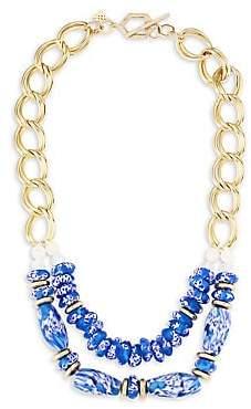 Vila Akola Women's Lydia Two-Strand Blue Glass Goldtone Necklace