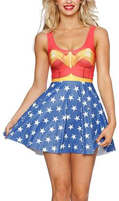Lady Queen Women's Wonder Woman Scoop Skater Dress Clubwear Ball Party Skirt color