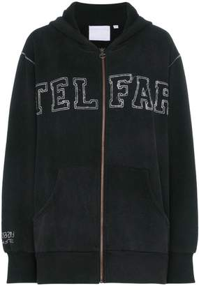 Telfar logo embroidered zip cotton blend hoodie