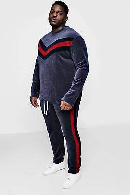 boohoo NEW Mens Big And Tall Velour Panelled Sweater Tracksuit in Cotton