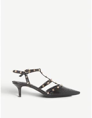Dune Castelo snake-embossed leather kitten heels