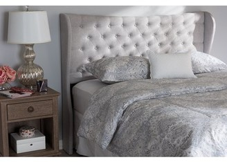 Baxton Studio Cadence Modern and Contemporary Greyish Beige Fabric Button-Tufted King Size Winged Headboard