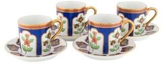 Fitz & Floyd 8-Piece Vintage Floral Demitasse Set
