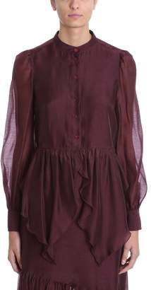 See by Chloe Burgundy Organza Blouse