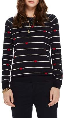 Scotch & Soda Button Detail Heart Stripe Sweater