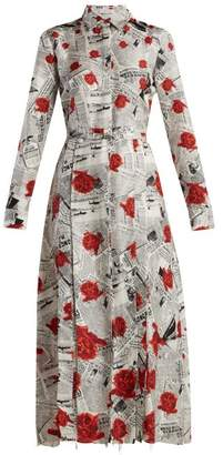 Gabriela Hearst - Jane Newspaper Print Silk Twill Shirtdress - Womens - Red Print
