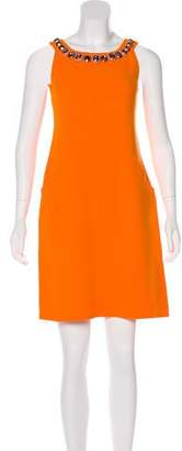 Oscar de la Renta Embellished Wool Dress