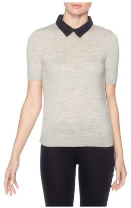 Magaschoni Short Sleeve Laced Back Pullover