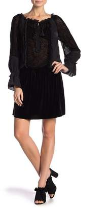 Hale Bob Silk Tie Neck Long Sleeve Dress