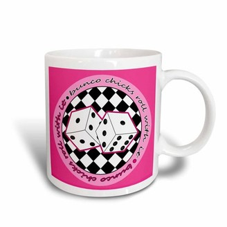 3dRose Bunco Chicks Roll With It Pink, Ceramic Mug, 11-ounce