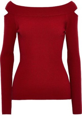 Autumn Cashmere Cutout Ribbed Merino Wool-blend Top