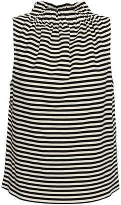 Tibi Gathered Striped Cotton-blend Jersey Top