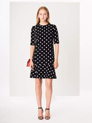 Oscar de la Renta Polka Dot-Print Stretch-Wool Crepe Drop-Waist Dress