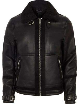 River Island Mens Black faux shearling aviator jacket