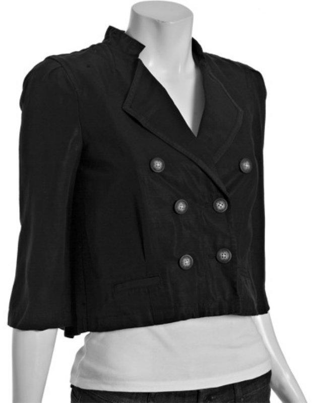 Generra black pintucked cropped swing jacket