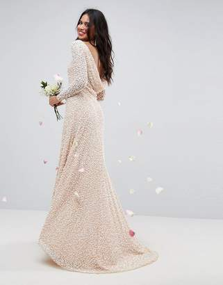 Asos Edition BRIDAL All Over Embellished Long Sleeve Maxi Dress