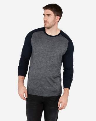 Express Merino Wool-Blend Thermal Regulating Stripe Crew Neck Sweater