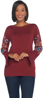 Belle By Kim Gravel Belle by Kim Gravel Embroidered Floral Bell Sleeve Sweater