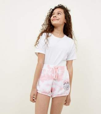 New Look Girls Coral Tie Dye Jersey Shorts