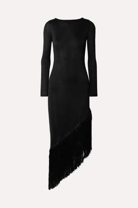 Cult Gaia Sharona Asymmetric Fringed Stretch-jersey Midi Dress - Black