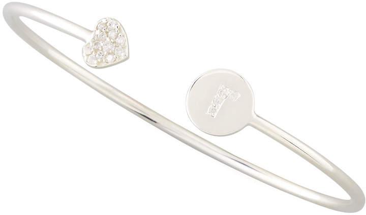Sarah Chloe Diamond-Heart & Pave Diamond Initial Bracelet