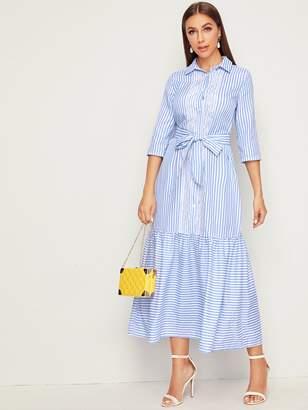 Shein Embroidered Mesh Flounce Hem Striped Belted Shirt Dress