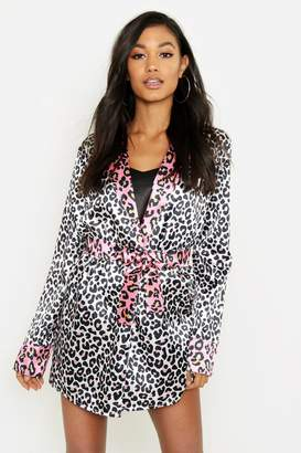 boohoo Contrast Leopard Satin Gown