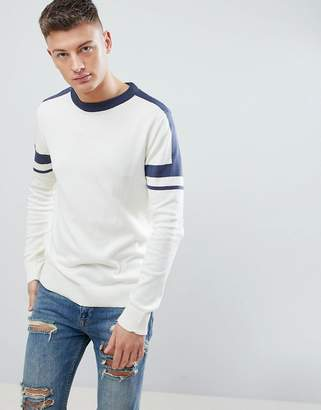 New Look Sweater With Arm Stripe In Off White