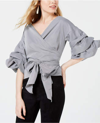 Sage The Label Tiered-Sleeve Wrap Top