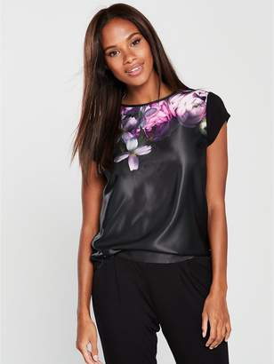 Ted Baker Sunlit Floral Jersey Short Sleeve PJ Top - Black
