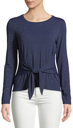 HIGHLINE COLLECTIVE Front-Tie Long-Sleeve Top