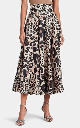 Zimmermann Women's Veneto Leopard-Print Linen Flared Skirt