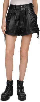The Kooples Lace-Up Detail Leather Mini Shorts