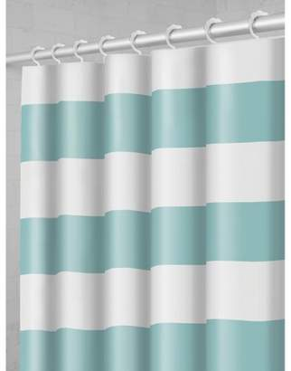 Maytex Smart Curtain Porter Stripe Fabric Shower Curtain with Attached Roller Glide Hooks