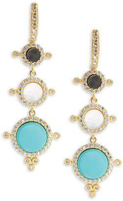Freida Rothman Women's Classic Nautical Compass Cubic Zirconia & 14K Gold-Plated Sterling Silver Drop Earrings